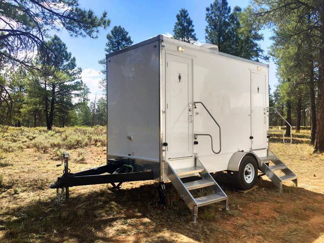 a photo of a standard restroom trailer